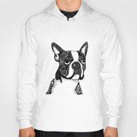 boston terrier Hoodies featuring Boston Terrier by DayLee Doodler