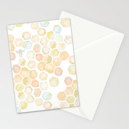 Bee and honeycomb watercolor Stationery Cards