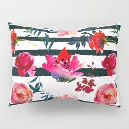 Black white pink floral watercolor stripes pattern Pillow Sham