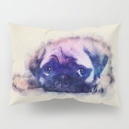 Pug puppy Sketch  Digital Art Pillow Sham