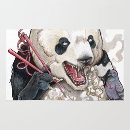 Panda Eating Ramen In A Tin Foil hat Rug