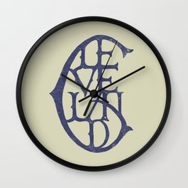 Vintage Cleveland Typography (Light) Wall Clock