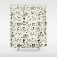 bicycles Shower Curtains featuring Vintage Bicycles by Thinx Shop