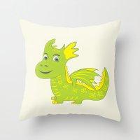 dino Throw Pillows featuring Dino by Hagu
