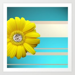 Yellow Daisy Flower Blue & Beige Stripes Art Print
