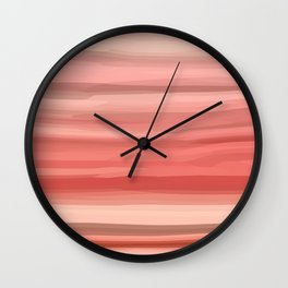 Peach Pink Rose Wavy Abstract Stripes Wall Clock