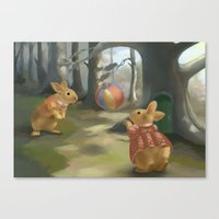 rabbits Canvas Prints featuring Rabbits by Elena Naylor