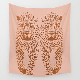 Sunset Blvd Leopard - blush pink and coral original print by Kristen Baker Wall Tapestry