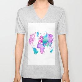 Modern world map globe bright watercolor paint Unisex V-Neck