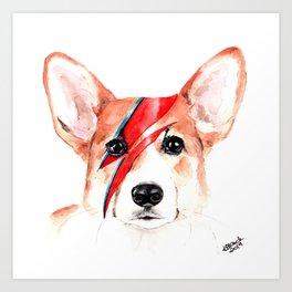 Corgi Bowie Art Print