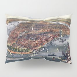 Gang of new york city old map Father Day art print poster Pillow Sham