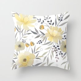 Modern, Floral Prints, Yellow, Gray and White Throw Pillow