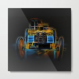 Fractal Car Neon Light Metal Print