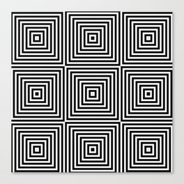 Square Optical Illusion Black And White Canvas Print