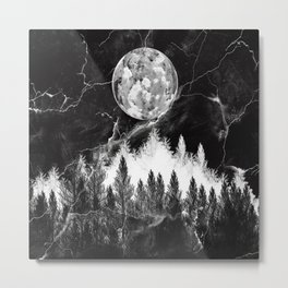 marble black and white landscape Metal Print