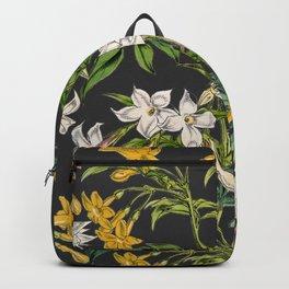 Vintage white blush pink orange dark gray floral Backpack