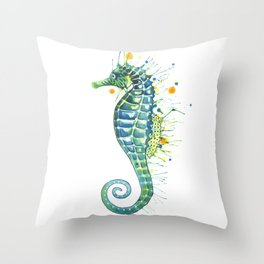Seahorse: Green Throw Pillow