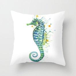 Seahorse: Green Throw Pillow