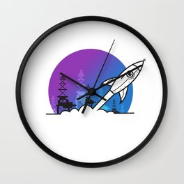 Rocket Blast Off to Space Wall Clock