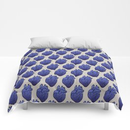 Space love / cosmic gold stars pattern on blue tattoo heart Comforters