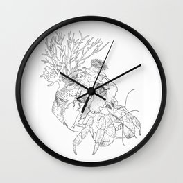 Home I: Hermit Crab Black and White Wall Clock