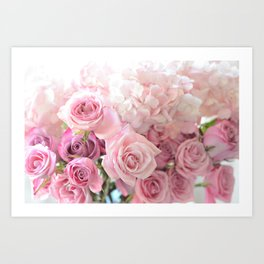Pink Bouquet of Roses Shabby Chic Floral Wall Art Home Decor Art Print