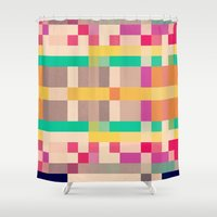 quilt Shower Curtains featuring quilt by spinL