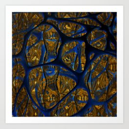 Blue And Gold Thoughts Art Print
