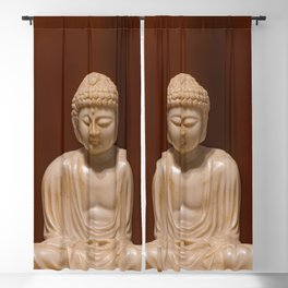 Statuette of Gautama Buddha in light marble in a prayer position Blackout Curtain