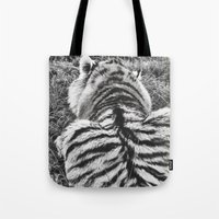 calvin and hobbes Tote Bags featuring Hobbes.  by calvin./CHANCE