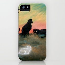 Ghost Cat Halloween Fantasy Art by Molly Harrison iPhone Case