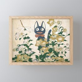 Jiji from Kiki's delivery service vintage japanese mashup Framed Mini Art Print