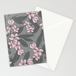 Sakura Branch Pattern - Ballet Slipper + Neutral Grey Stationery Cards