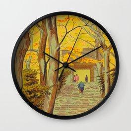 Asano Takeji Japanese Woodblock Print Vintage Mid Century Art Autumn Trees Shinto Shrine Wall Clock