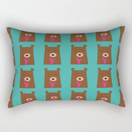 Bear in love Teal Rectangular Pillow