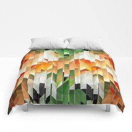 Geometric Tiled Orange Green Abstract Design Comforters