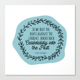 The Great Gatsby Last Lines by Scott Fitzgerald Canvas Print