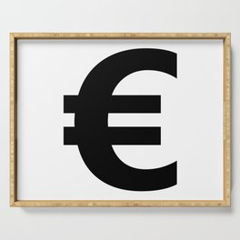 Euro Sign (Black & White) Serving Tray