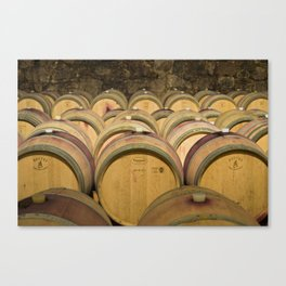 Oak Barrels In Wine Cellar Canvas Print