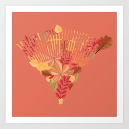 Autumn fallen leaves with rake design illustration Art Print