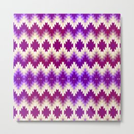 Purple Vintage Geometric Burst Metal Print