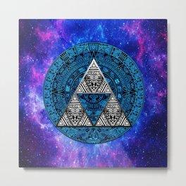 Triforce Circle With Blue Nebula Metal Print