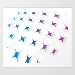 BLUE AND PURPLE STARS Abstract Art Art Print