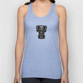 Cute Black Panther Cub Dj Wearing Headphones Unisex Tank Top