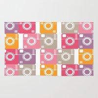 cameras Area & Throw Rugs featuring Vintage cameras by Yasmina Baggili