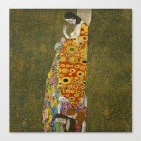 gustav klimt Canvas Prints featuring Hope II by Gustav Klimt  by Palazzo Art Gallery