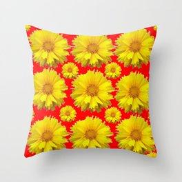 """YELLOW COREOPSIS """"TICK SEED"""" FLOWERS RED PATTERN Throw Pillow"""