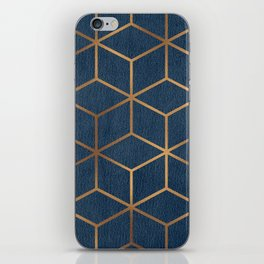 Dark Blue and Gold - Geometric Textured Cube Design iPhone Skin
