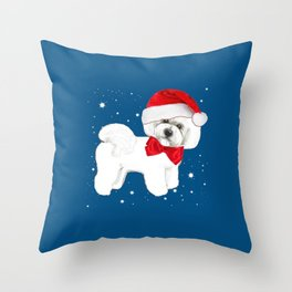Bichon Frise red christmas holiday themed pattern print pet friendly dog breed gifts Throw Pillow