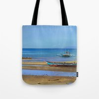 philippines Tote Bags featuring Philippines beach by Maria Zborovska
